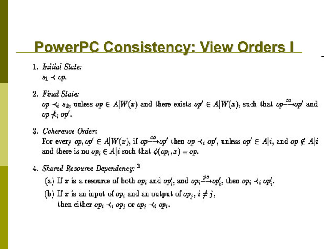 PowerPC Consistency: View Orders I