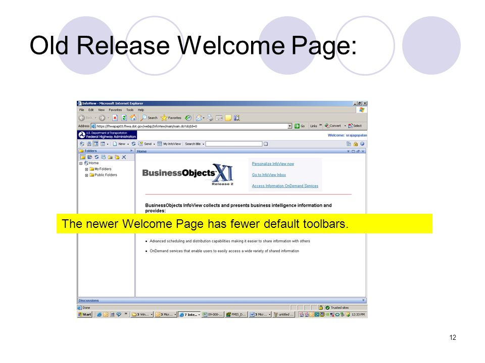 12 Old Release Welcome Page: The newer Welcome Page has fewer default toolbars.