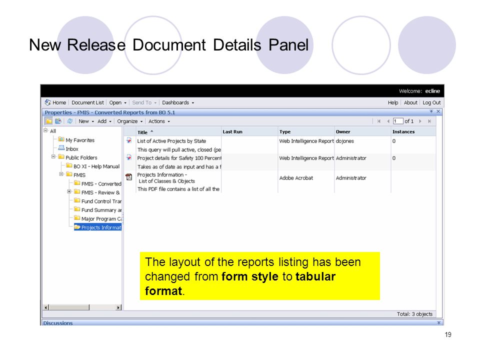 19 New Release Document Details Panel The layout of the reports listing has been changed from form style to tabular format.