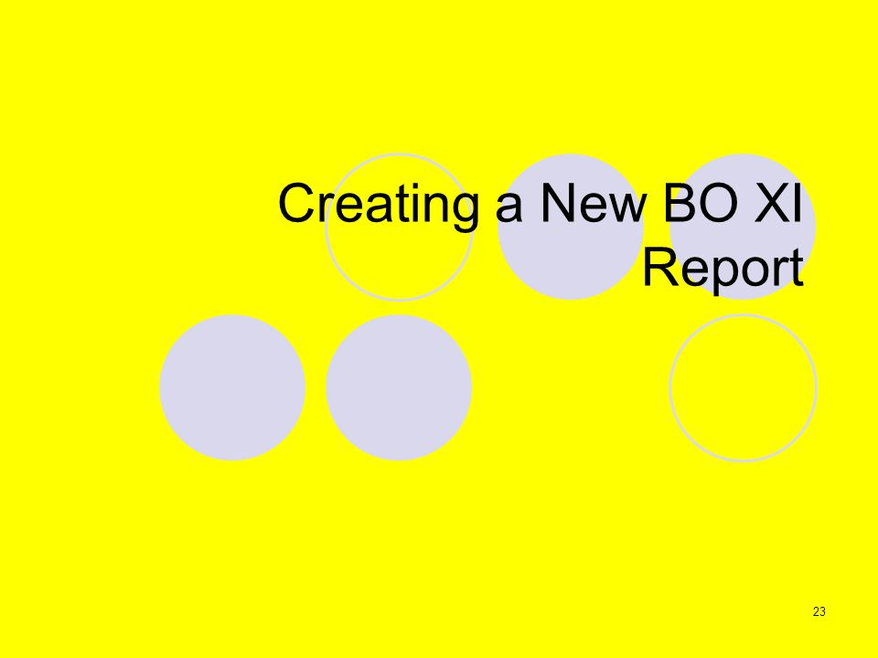 23 Creating a New BO XI Report