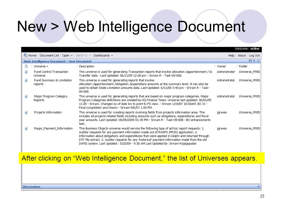 25 New > Web Intelligence Document After clicking on Web Intelligence Document, the list of Universes appears.