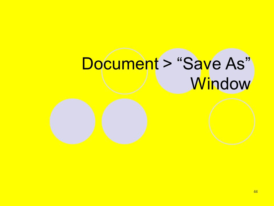 44 Document > Save As Window