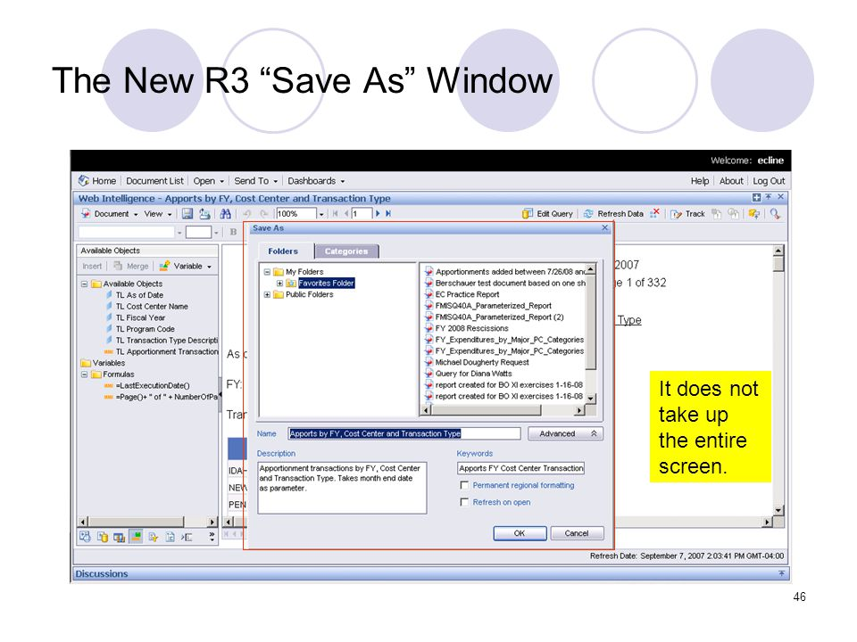 46 The New R3 Save As Window It does not take up the entire screen.