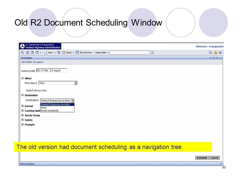49 Old R2 Document Scheduling Window The old version had document scheduling as a navigation tree.