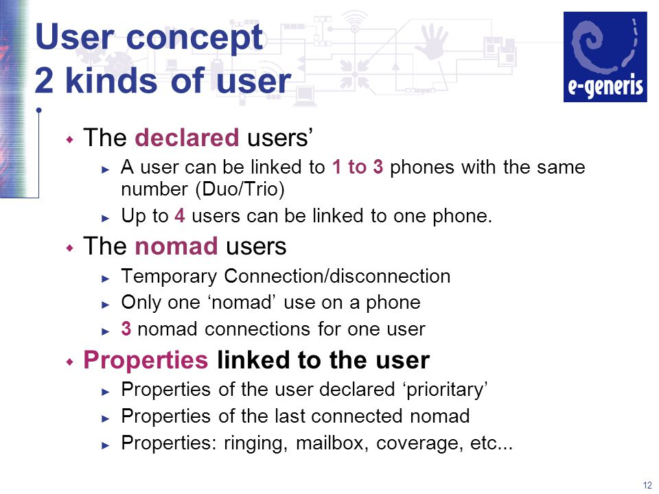 12 User concept 2 kinds of user w The declared users' ► A user can be linked to 1 to 3 phones with the same number (Duo/Trio) ► Up to 4 users can be linked to one phone.