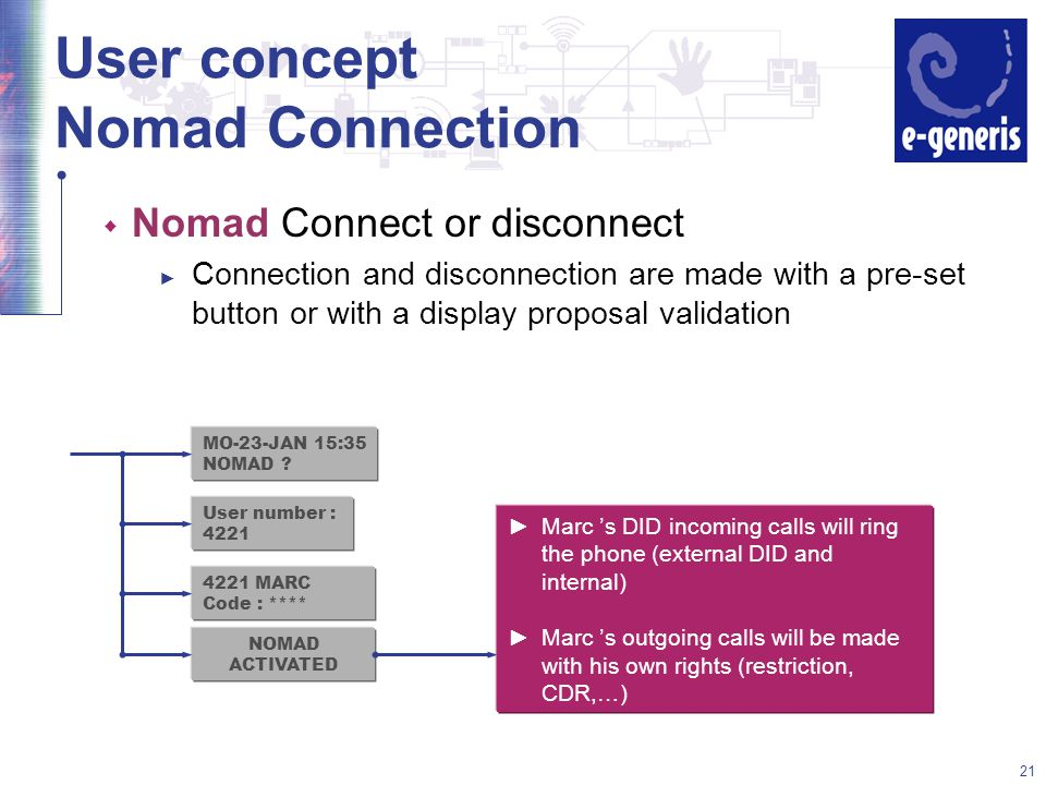 21 User concept Nomad Connection w Nomad Connect or disconnect ► Connection and disconnection are made with a pre-set button or with a display proposal validation MO-23-JAN 15:35 NOMAD .