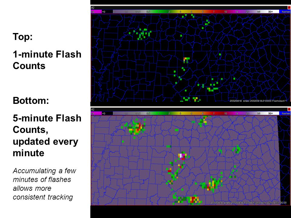 1 and 5-min Flash Count movies Top: 1-minute Flash Counts Bottom: 5-minute Flash Counts, updated every minute Accumulating a few minutes of flashes allows more consistent tracking
