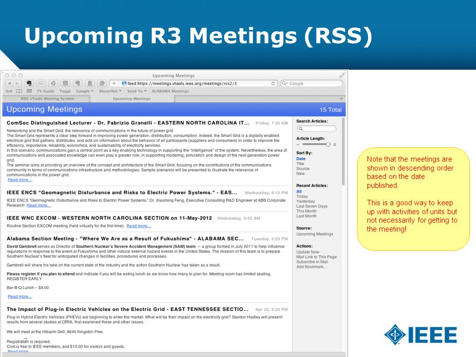 12-CRS-0106 REVISED 8 FEB 2013 Upcoming R3 Meetings (RSS) Note that the meetings are shown in descending order based on the date published. This is a
