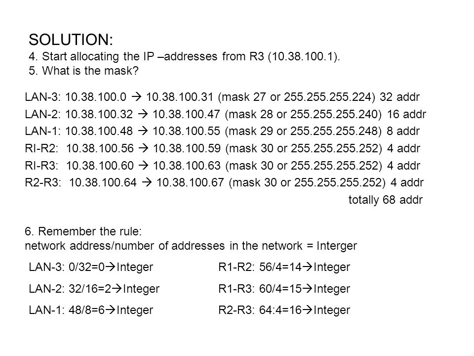 SOLUTION: 4. Start allocating the IP –addresses from R3 (10.38.100.1).