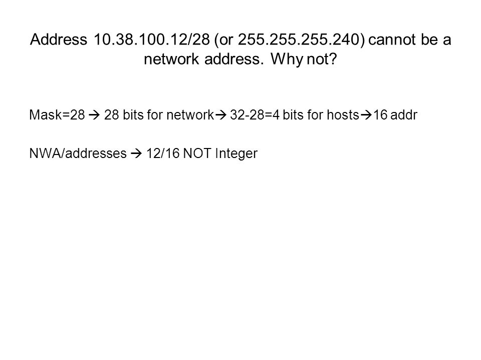 Address 10.38.100.12/28 (or 255.255.255.240) cannot be a network address.