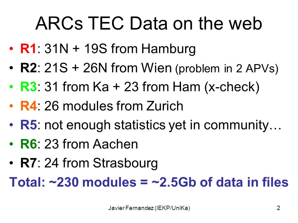 Javier Fernandez (IEKP/UniKa)2 ARCs TEC Data on the web R1: 31N + 19S from Hamburg R2: 21S + 26N from Wien (problem in 2 APVs) R3: 31 from Ka + 23 from Ham (x-check) R4: 26 modules from Zurich R5: not enough statistics yet in community… R6: 23 from Aachen R7: 24 from Strasbourg Total: ~230 modules = ~2.5Gb of data in files