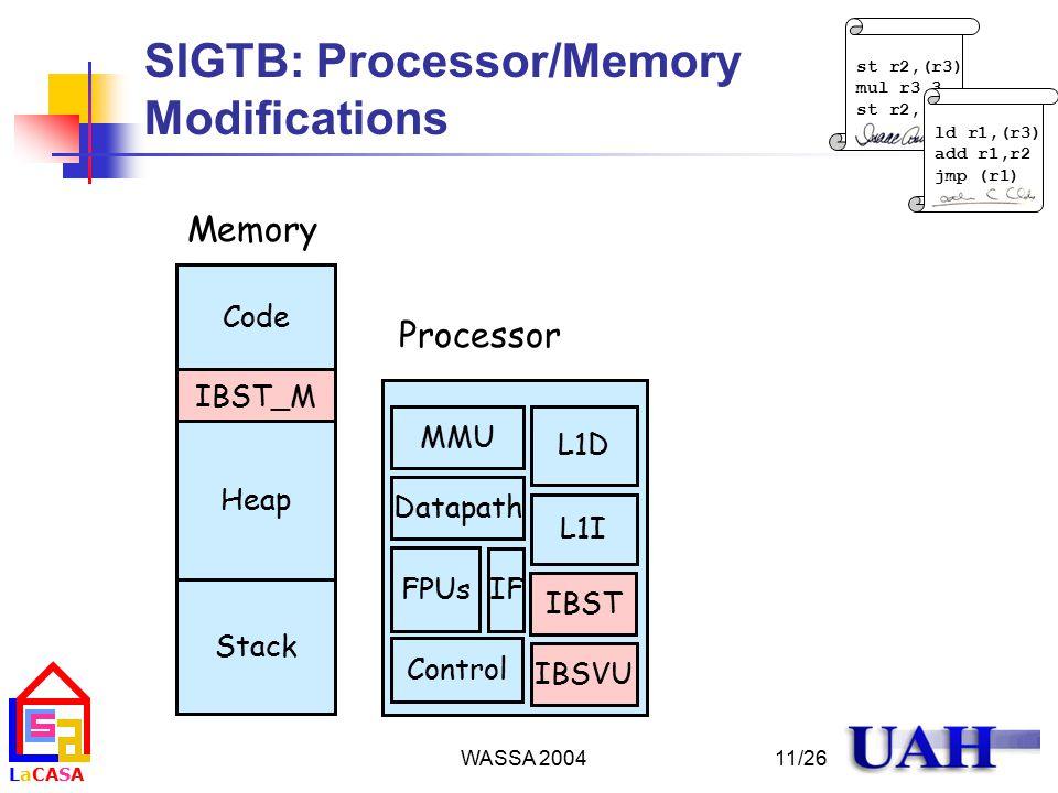 LaCASALaCASA WASSA 2004 st r2,(r3) mul r3,3 st r2,(r3) ld r1,(r3) add r1,r2 jmp (r1) 11/26 SIGTB: Processor/Memory Modifications IBST L1I L1D MMU Datapath FPUs IF Control IBST_M Code Heap Stack IBSVU Memory Processor