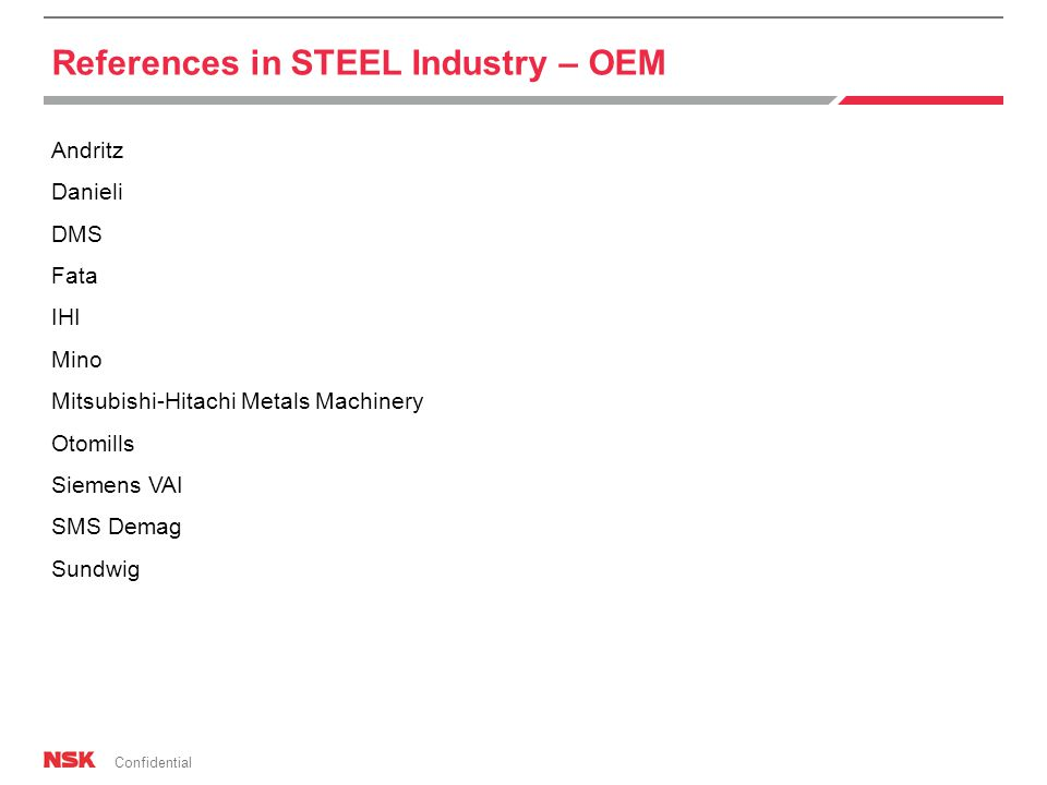 Confidential Andritz Danieli DMS Fata IHI Mino Mitsubishi-Hitachi Metals Machinery Otomills Siemens VAI SMS Demag Sundwig References in STEEL Industry – OEM
