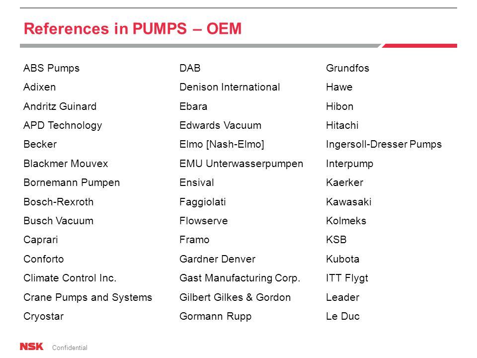 Confidential References in PUMPS – OEM ABS Pumps Adixen Andritz Guinard APD Technology Becker Blackmer Mouvex Bornemann Pumpen Bosch-Rexroth Busch Vacuum Caprari Conforto Climate Control Inc.