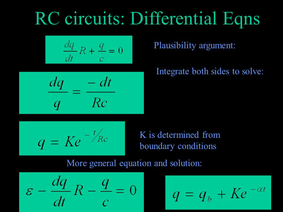 RC circuits: differential Eqns Differential equation.