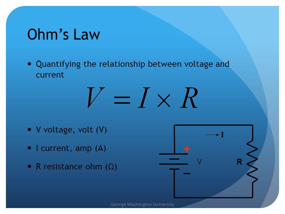 George Washington University An Example 3V = I x 1000 Ω Solve for I: I =3V / 1000 Ω = 3milliAmps 3V R = 1K Ω I = .
