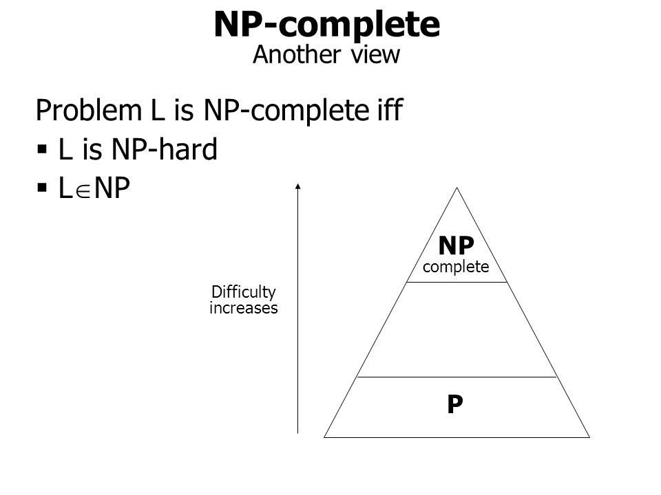 NP-complete Another view P NP complete Difficulty increases Problem L is NP-complete iff  L is NP-hard  L  NP