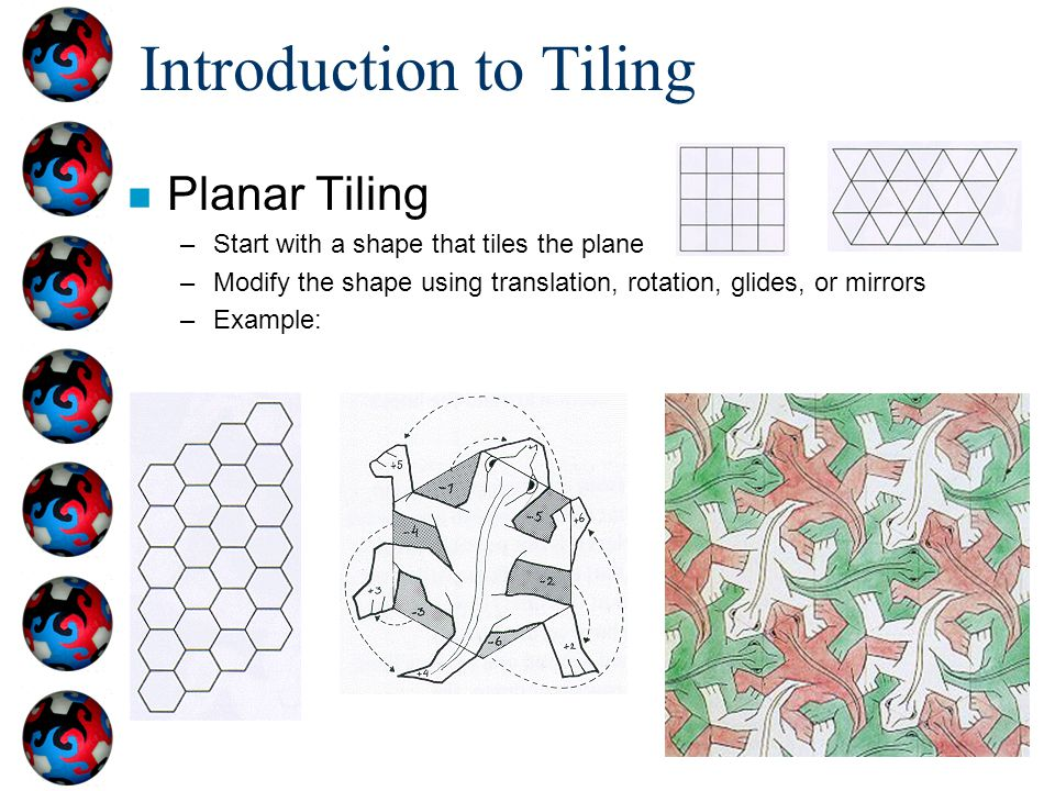 Introduction to Tiling n Planar Tiling –Start with a shape that tiles the plane –Modify the shape using translation, rotation, glides, or mirrors –Example: