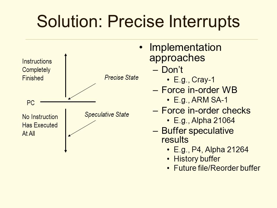 Solution: Precise Interrupts Implementation approaches –Don't E.g., Cray-1 –Force in-order WB E.g., ARM SA-1 –Force in-order checks E.g., Alpha 21064 –Buffer speculative results E.g., P4, Alpha 21264 History buffer Future file/Reorder buffer Instructions Completely Finished No Instruction Has Executed At All PC Precise State Speculative State