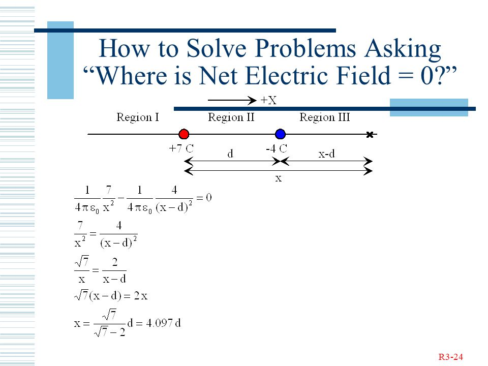 R3-24 How to Solve Problems Asking Where is Net Electric Field = 0?