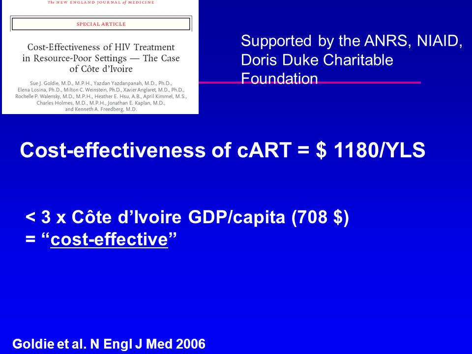 Goldie et al. N Engl J Med 2006 Supported by the ANRS, NIAID, Doris Duke Charitable Foundation Cost-effectiveness of cART = $ 1180/YLS < 3 x Côte d'Iv