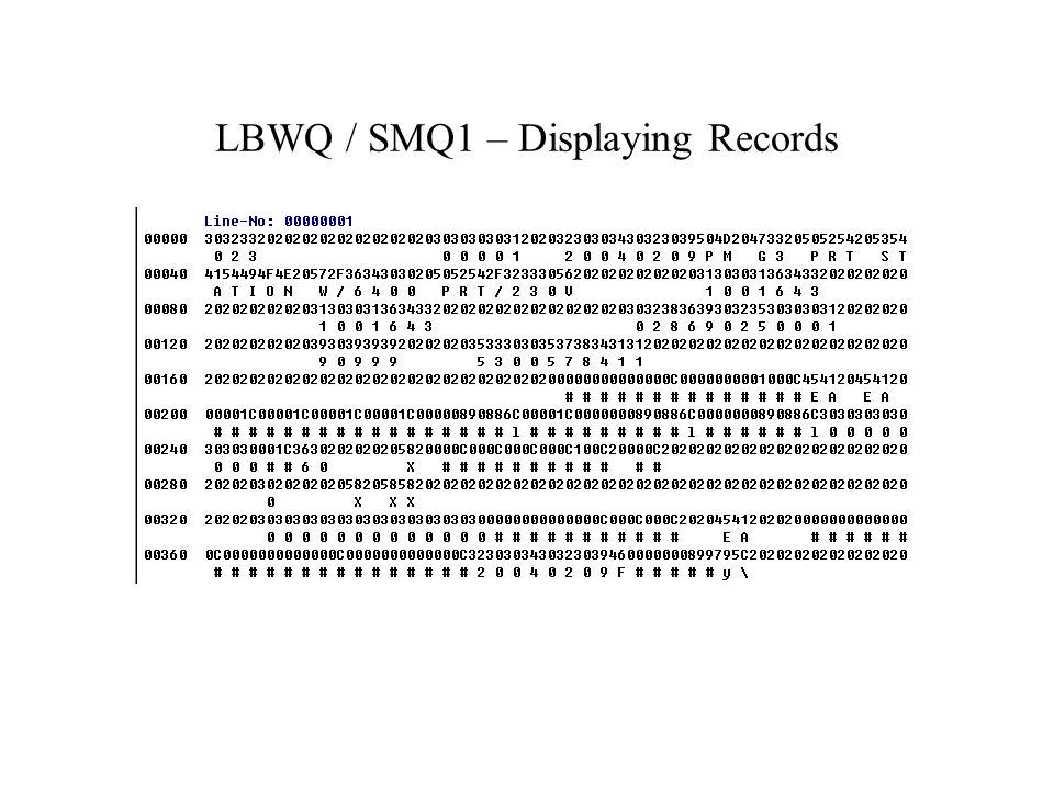 LBWQ / SMQ1 – Displaying Records