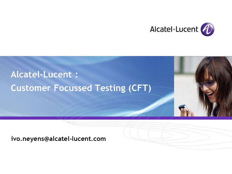 All Rights Reserved © Alcatel-Lucent 2007, ##### R37v CFT presentation Example 2 : VoIP Softswitch Abacus5000 SIP VOIP users VOICE Tool SIP Abacus100 100 Analogue lines PESQ Measurement ISAM 7302
