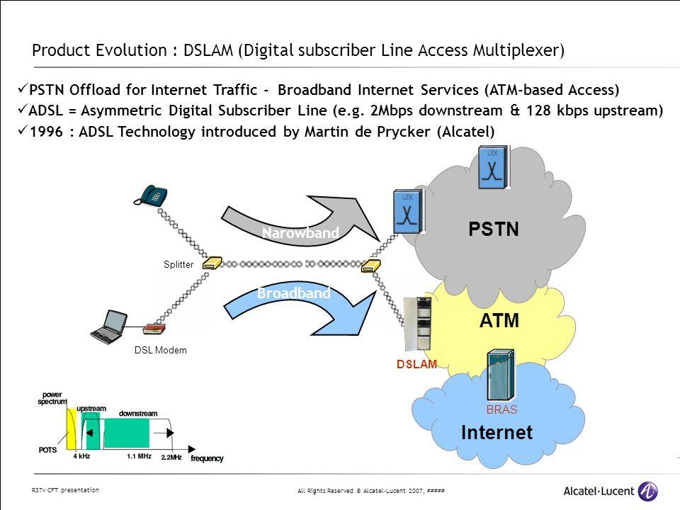 All Rights Reserved © Alcatel-Lucent 2007, ##### R37v CFT presentation Product Evolution : IP-DSLAM PSTN Internet IP ISAM 7302 IP-DSLAM – Ethernet/IP-based Access Need for more bandwidth : ADSL2+, VDSL, VDSL2 (e.g.