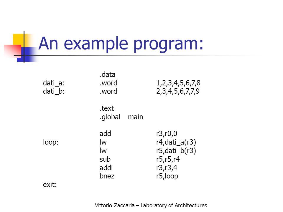 Vittorio Zaccaria – Laboratory of Architectures An example program:.data dati_a:.word1,2,3,4,5,6,7,8 dati_b:.word2,3,4,5,6,7,7,9.text.globalmain addr3,r0,0 loop:lwr4,dati_a(r3) lwr5,dati_b(r3) subr5,r5,r4 addir3,r3,4 bnezr5,loop exit: