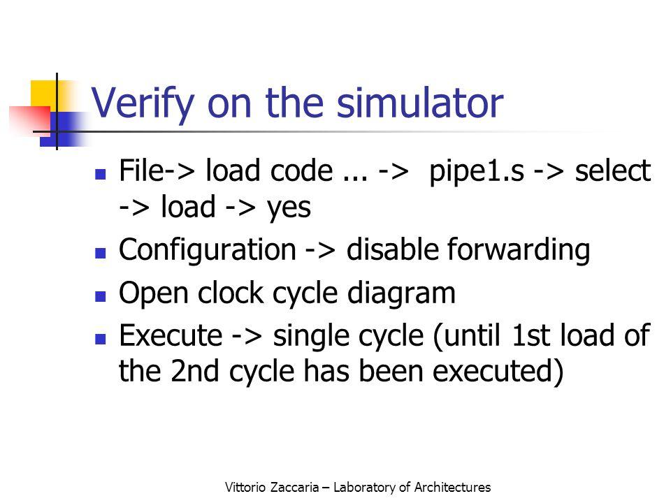 Vittorio Zaccaria – Laboratory of Architectures Verify on the simulator File-> load code...