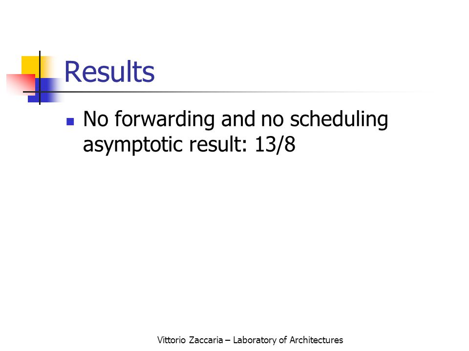 Vittorio Zaccaria – Laboratory of Architectures Results No forwarding and no scheduling asymptotic result: 13/8