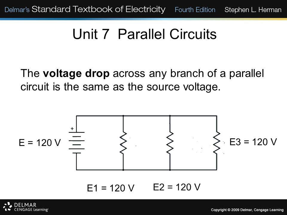 Unit 7 Parallel Circuits The voltage drop across any branch of a parallel circuit is the same as the source voltage. E1 = 120 V E2 = 120 V E3 = 120 V