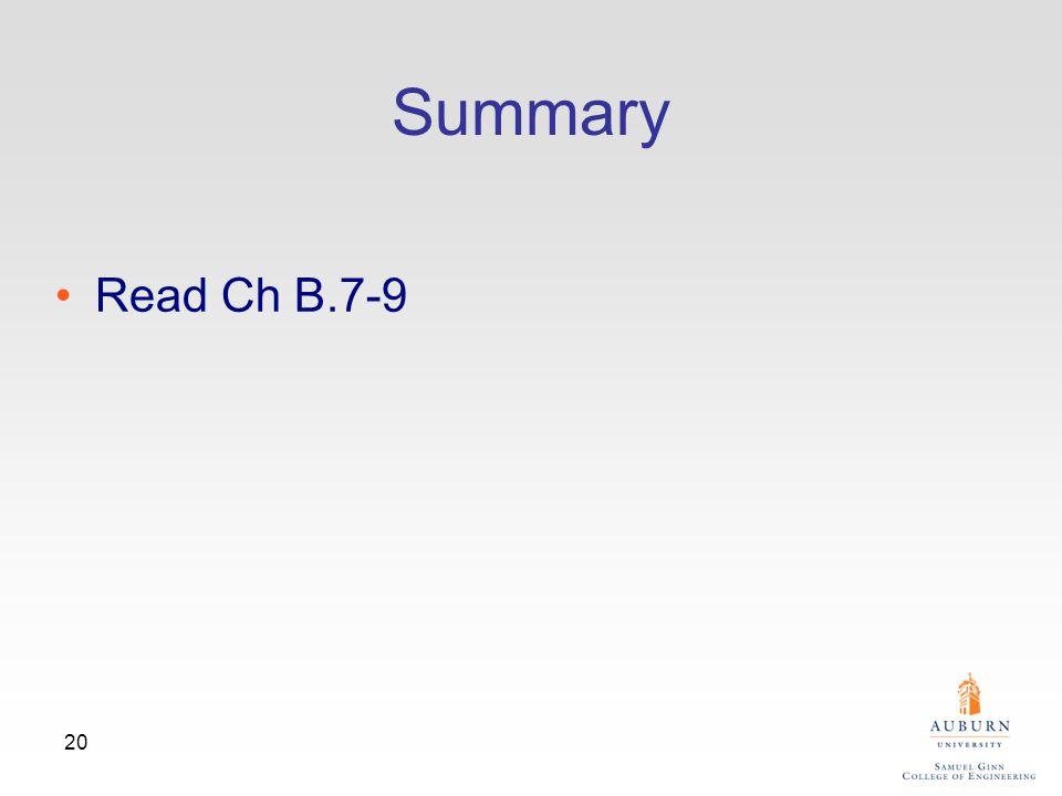 20 Summary Read Ch B.7-9