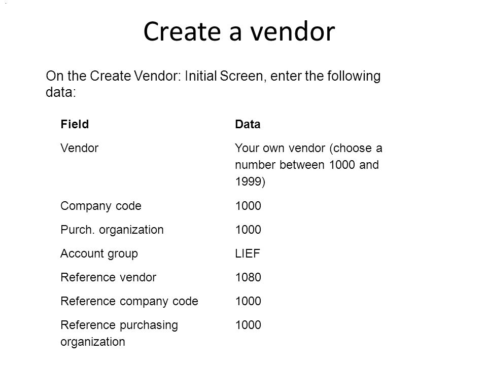 Create a vendor FieldData Vendor Your own vendor (choose a number between 1000 and 1999) Company code1000 Purch. organization1000 Account groupLIEF Re