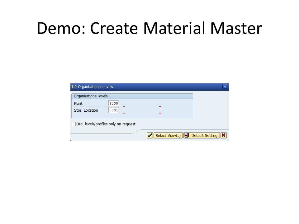 Demo: Create Material Master