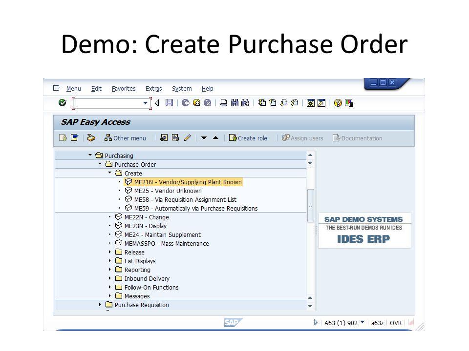 Demo: Create Purchase Order