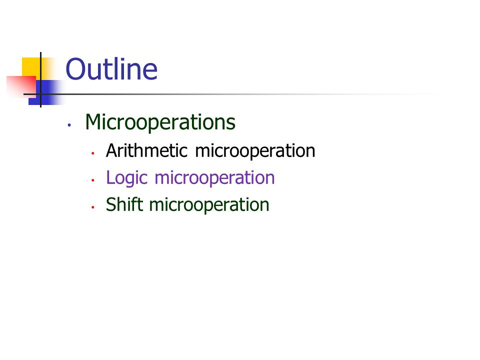 Outline Microoperations Arithmetic microoperation Logic microoperation Shift microoperation