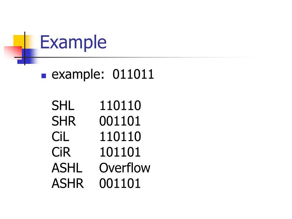 Example example: 011011 SHL110110 SHR 001101 CiL 110110 CiR 101101 ASHL Overflow ASHR 001101