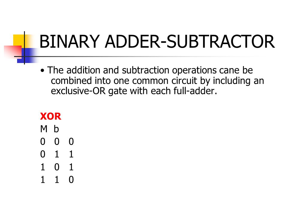 BINARY ADDER-SUBTRACTOR The addition and subtraction operations cane be combined into one common circuit by including an exclusive-OR gate with each full-adder.