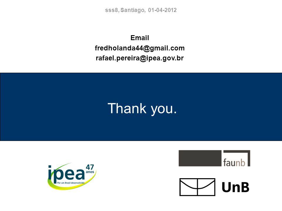Thank you. Email fredholanda44@gmail.com rafael.pereira@ipea.gov.br sss8, Santiago, 01-04-2012