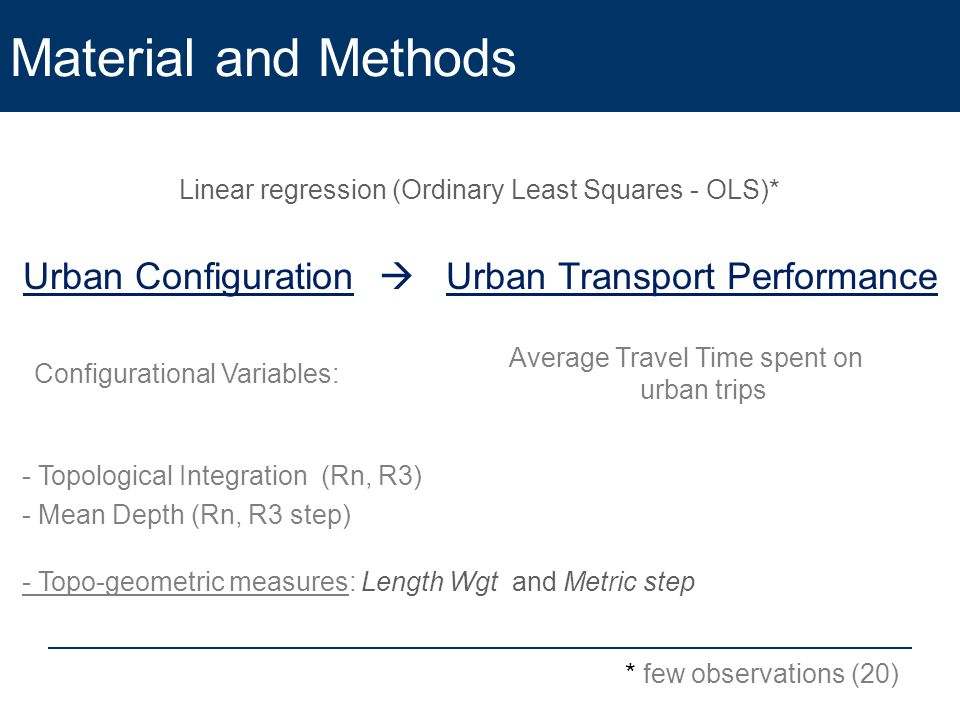 Material and Methods Linear regression (Ordinary Least Squares - OLS)* Urban Configuration  Urban Transport Performance Configurational Variables: Average Travel Time spent on urban trips * few observations (20) - Topological Integration (Rn, R3) - Mean Depth (Rn, R3 step) - Topo-geometric measures: Length Wgt and Metric step