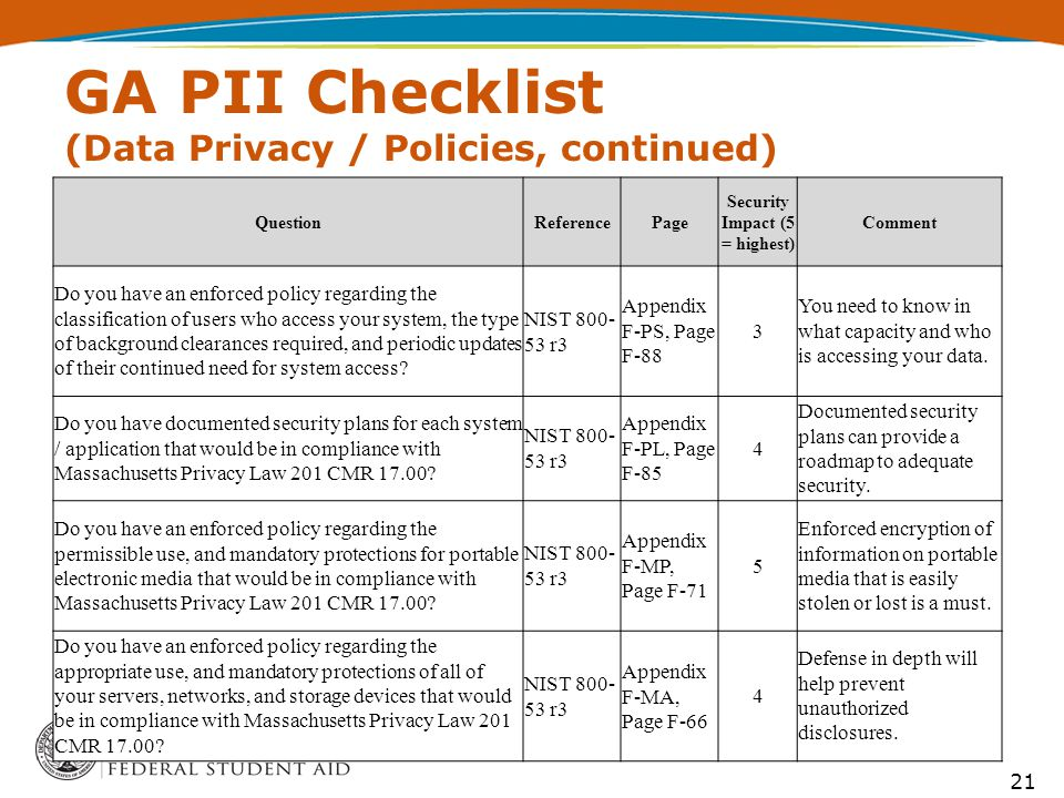 GA PII Checklist (Data Privacy / Policies, continued) 21 QuestionReferencePage Security Impact (5 = highest) Comment Do you have an enforced policy regarding the classification of users who access your system, the type of background clearances required, and periodic updates of their continued need for system access.