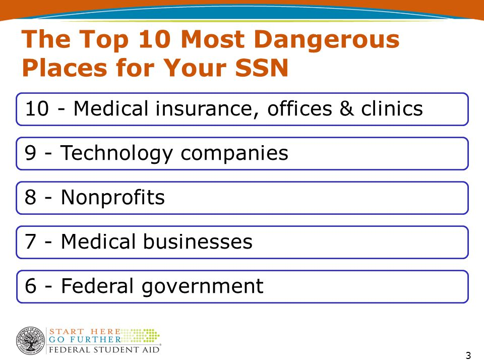 The Top 10 Most Dangerous Places for Your SSN 10 - Medical insurance, offices & clinics9 - Technology companies8 - Nonprofits7 - Medical businesses6 - Federal government 3