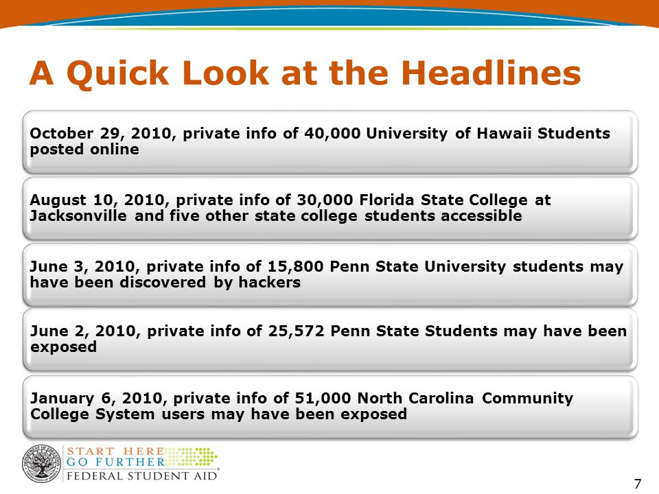 A Quick Look at the Headlines October 29, 2010, private info of 40,000 University of Hawaii Students posted online August 10, 2010, private info of 30,000 Florida State College at Jacksonville and five other state college students accessible June 3, 2010, private info of 15,800 Penn State University students may have been discovered by hackers January 6, 2010, private info of 51,000 North Carolina Community College System users may have been exposed June 2, 2010, private info of 25,572 Penn State Students may have been exposed 7