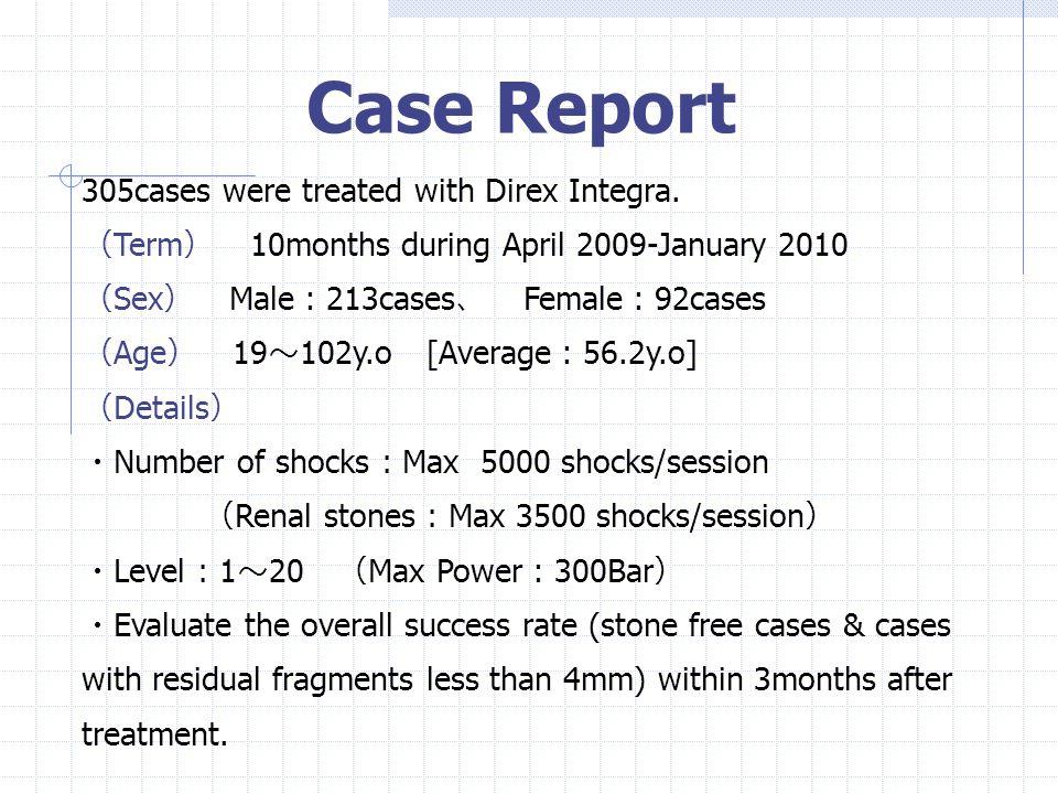 Stone Location Stone maximal diameter ≦ 1cm 1cm <、≦ 2cm 2cm < 208cases 89cases 8cases Stone information R1 ・・・ 0case R2 ・・・ 23cases R3 ・・・ 34cases U1 ・・・ 153cases U2 ・・・ 36cases U3 ・・・ 59cases