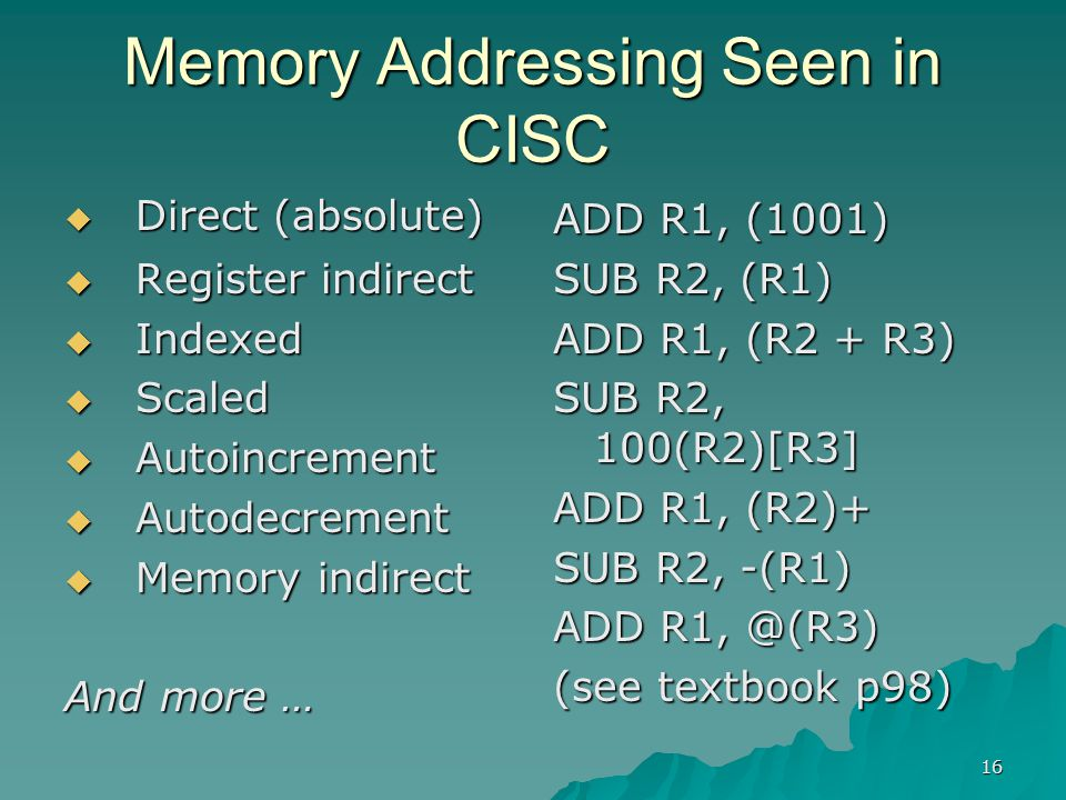 16 Memory Addressing Seen in CISC  Direct (absolute)  Register indirect  Indexed  Scaled  Autoincrement  Autodecrement  Memory indirect And mor
