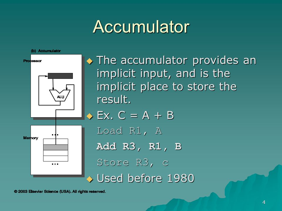 4 Accumulator  The accumulator provides an implicit input, and is the implicit place to store the result.  Ex. C = A + B Load R1, A Add R3, R1, B St
