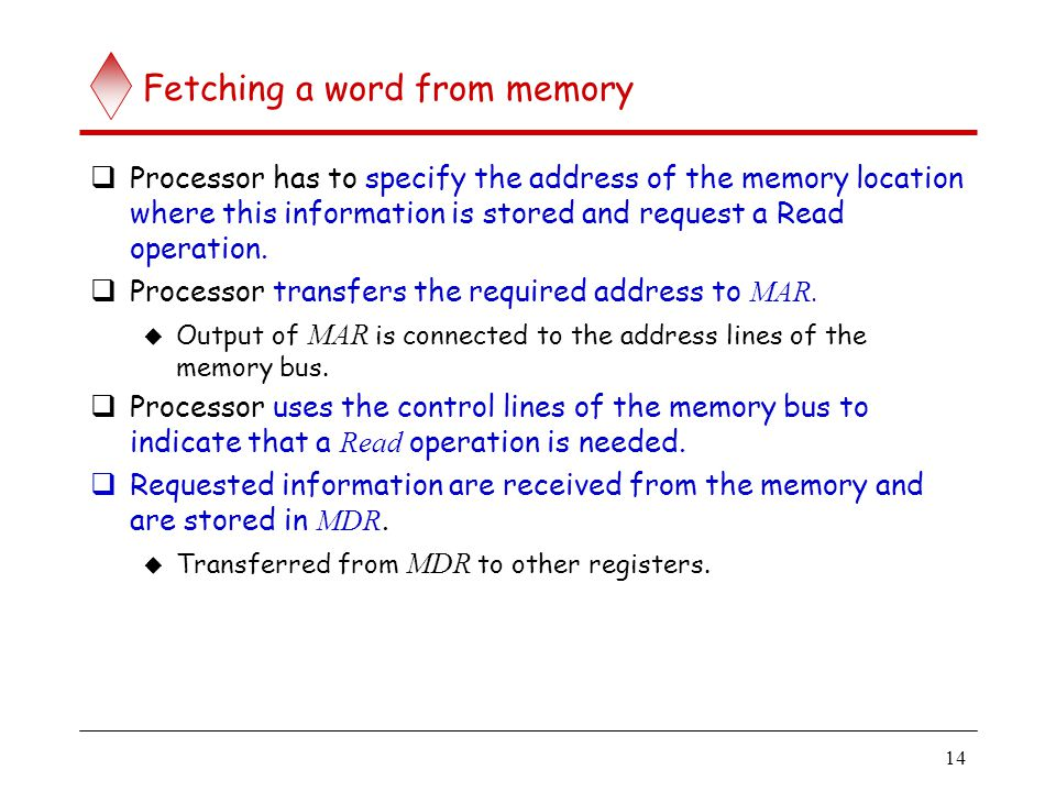14 Fetching a word from memory  Processor has to specify the address of the memory location where this information is stored and request a Read opera