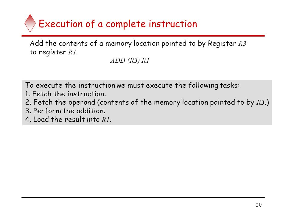20 Execution of a complete instruction Add the contents of a memory location pointed to by Register R3 to register R1. ADD (R3) R1 To execute the inst