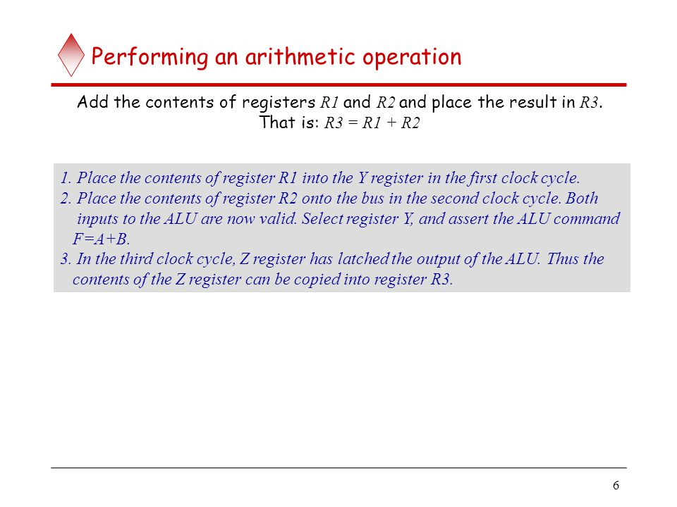6 Performing an arithmetic operation Add the contents of registers R1 and R2 and place the result in R3. That is: R3 = R1 + R2 1. Place the contents o